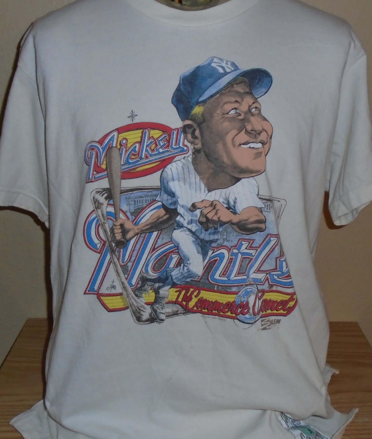 46e91f265 vintage Mickey Mantle New York Yankees cooperstown collection cartoon t  shirt size XL by vintagerhino247 on Etsy