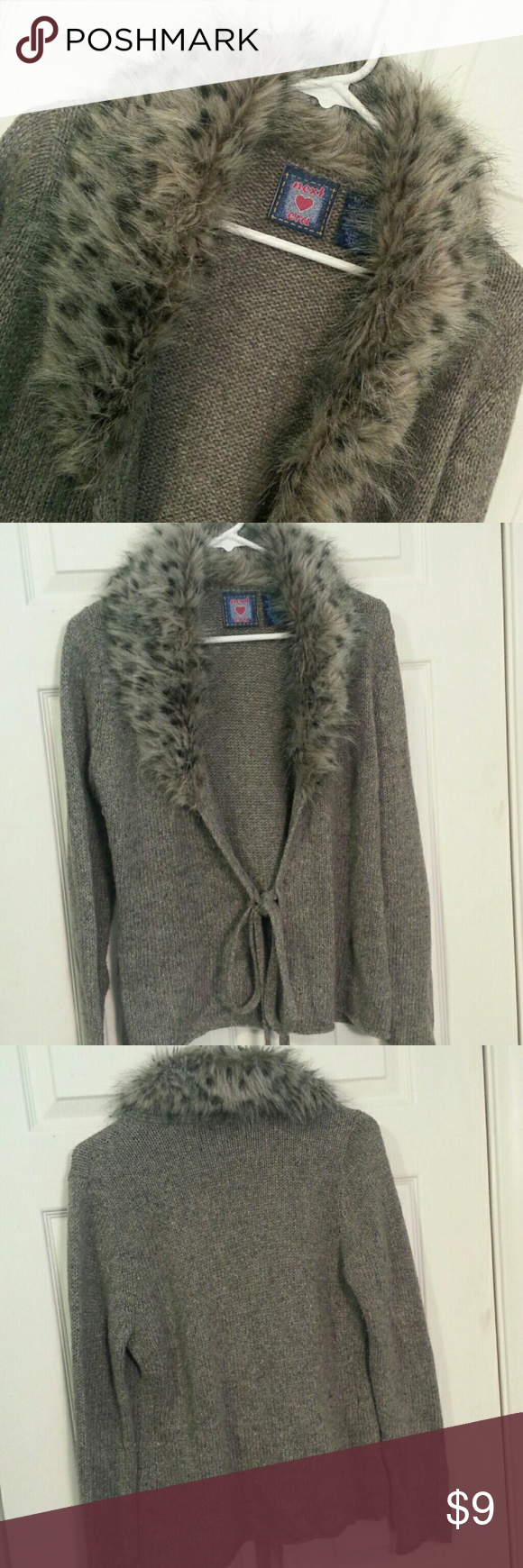 Wrap sweater with fur like collar | D, Grey and Sweater cardigan