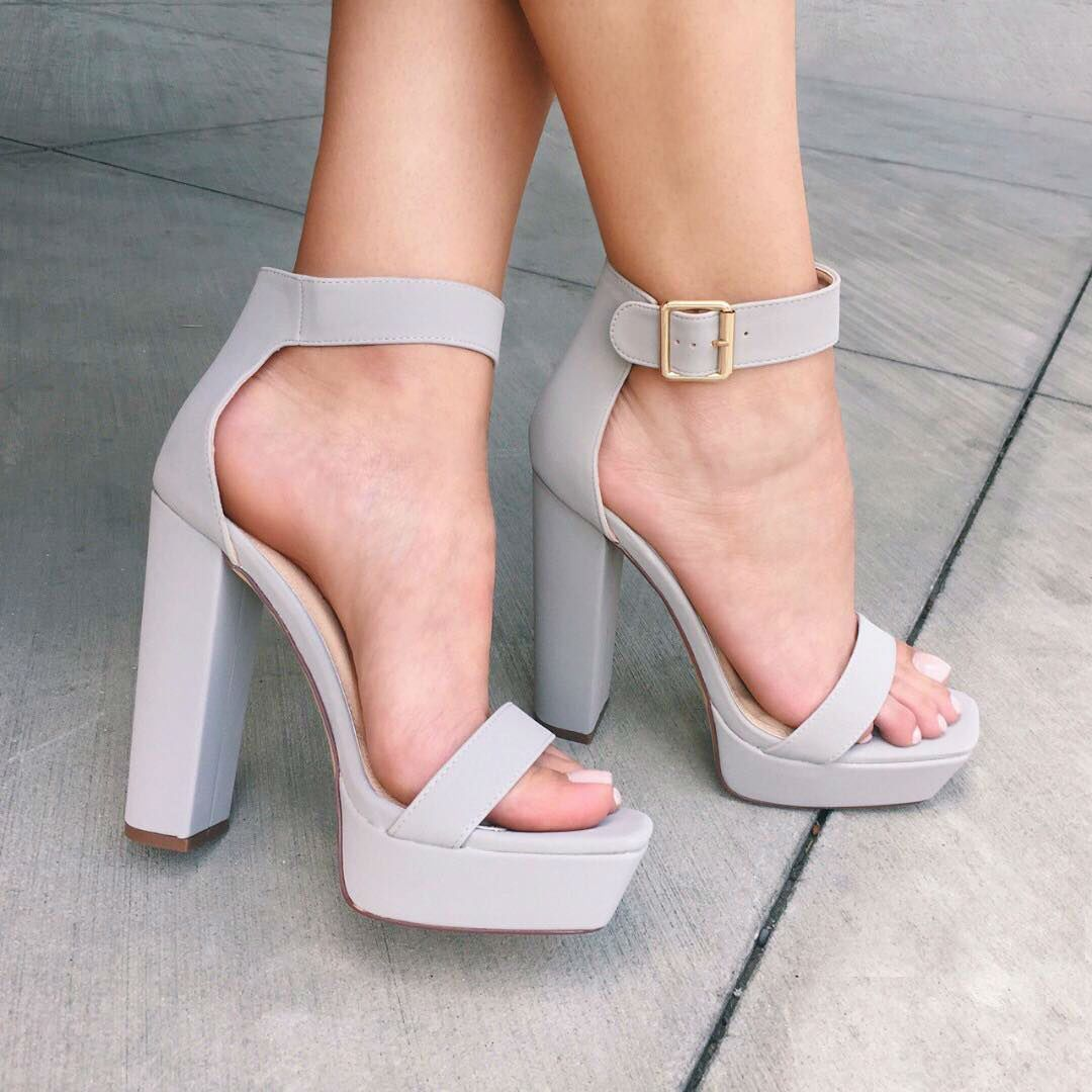 a8a630a6719 Ankle Strap Open Toe Chunky Heels