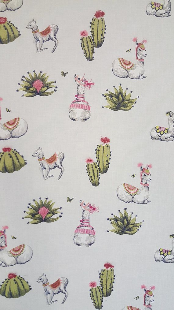 No Prob-Llama - Embroidered - Bohemian Style - Upholstery Fabric by