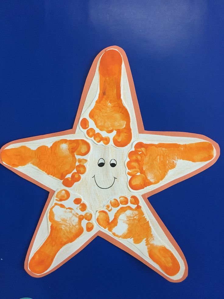 Starfish footprint under the sea footprint is part of Baby art activities -