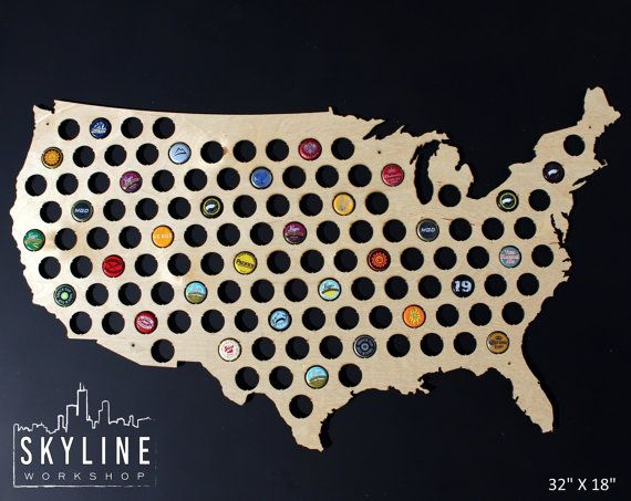 Beer Cap Map USA United States Glossy Birch By SkylineWorkshop - Us beer cap map