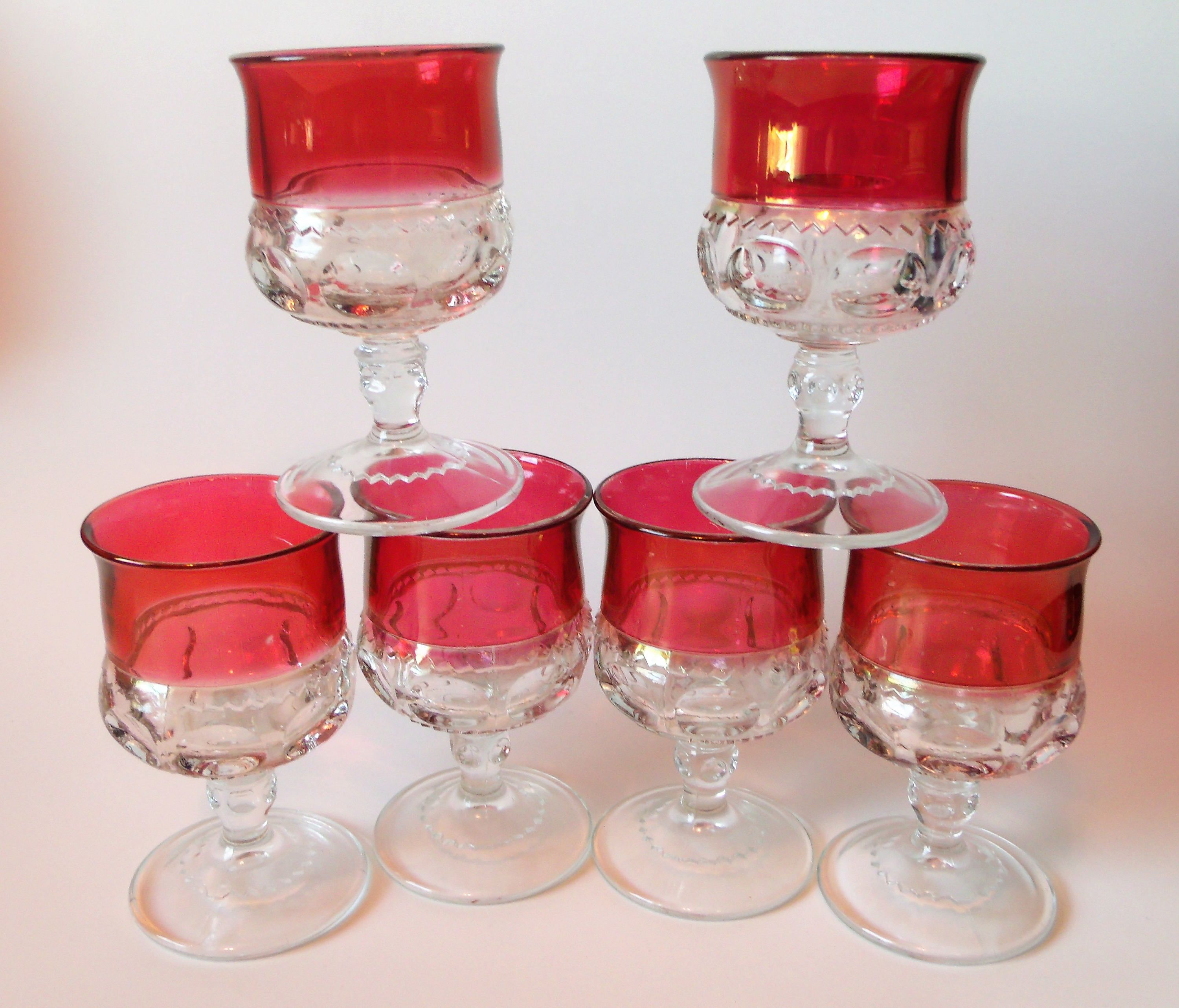 Set Of 6 Kings Crown Ruby Red Cranberry Flashed Glass Stemmed Cordial Juice Glass Small Wine Glass Tiffin Franc Mason Jar Wine Glass Glass Wine Glass