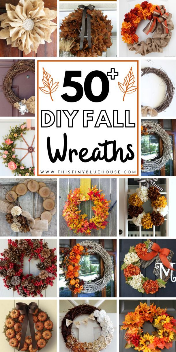 50+ Best Beautiful DIY Fall Wreath Ideas - This Tiny Blue House #fallwreaths