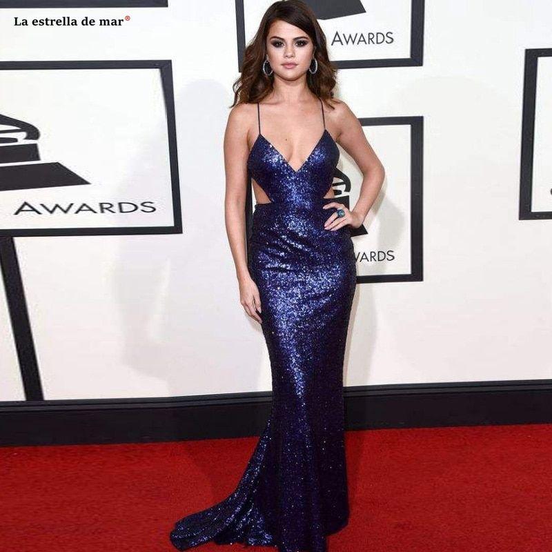 Selena Gomez 2019 Navy Blue Sequins Mermaid Celebrity Dresses Long Red Carpet Dress Back C In 2020 Celebrity Evening Dress Celebrity Inspired Dresses Celebrity Dresses