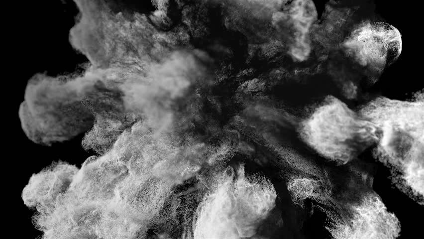 c4f4bdd69 White Particles Dust/smoke Explosion On Black Background With Alpha Matte,  Slow…