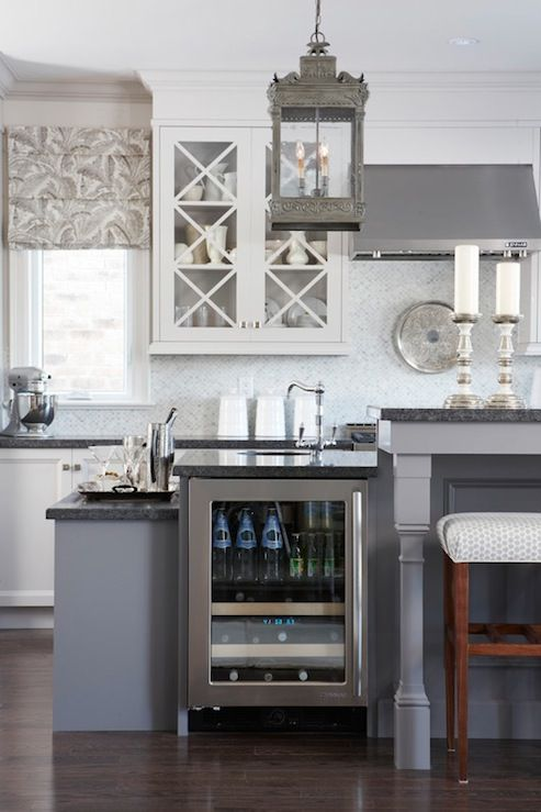 Gray Cabinets Or Gray On Bottom White On Top Light Gray Kitchen Cabinets Dark Gray Kit Gray And White Kitchen Elegant Kitchen Island Sarah Richardson Kitchen