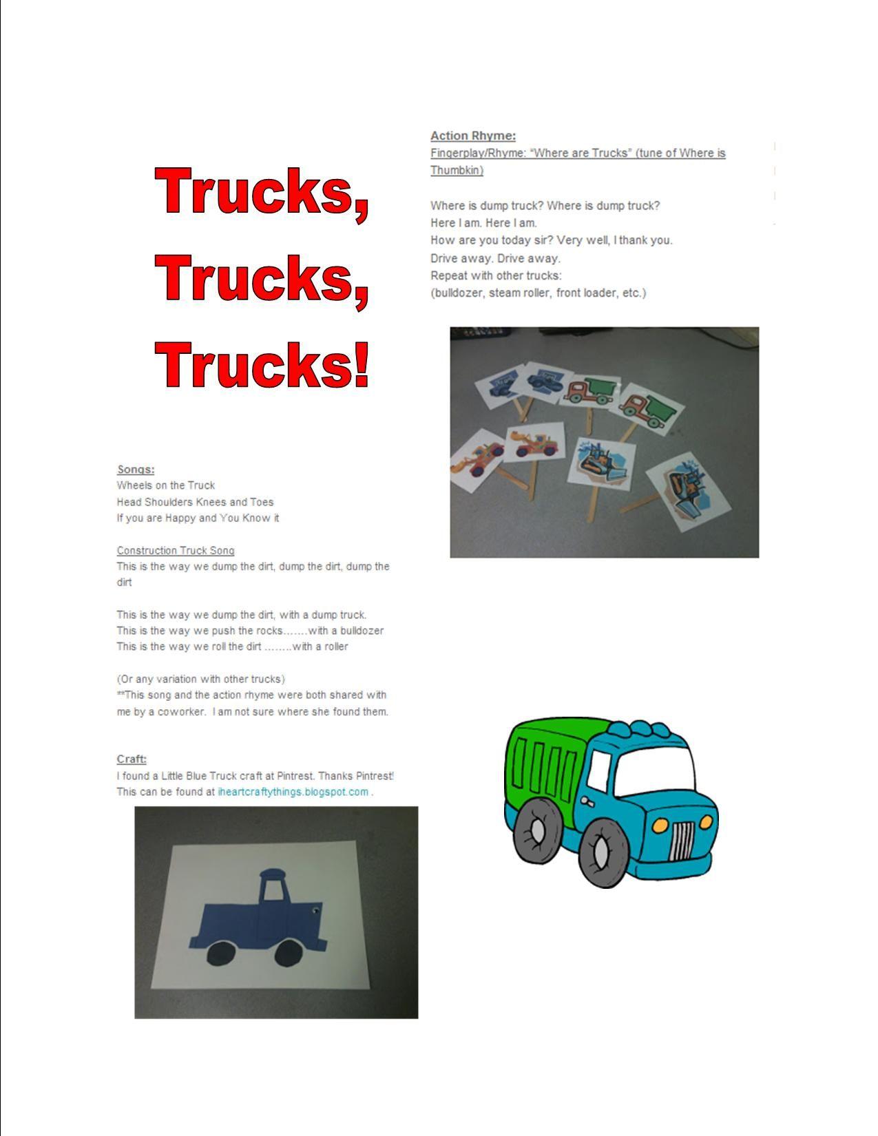 Dump Truck Rhyme Preschool Songs Transportation Theme Preschool Preschool Construction