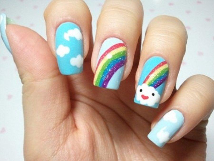 Cute Nail Art Design In Rainbow Theme