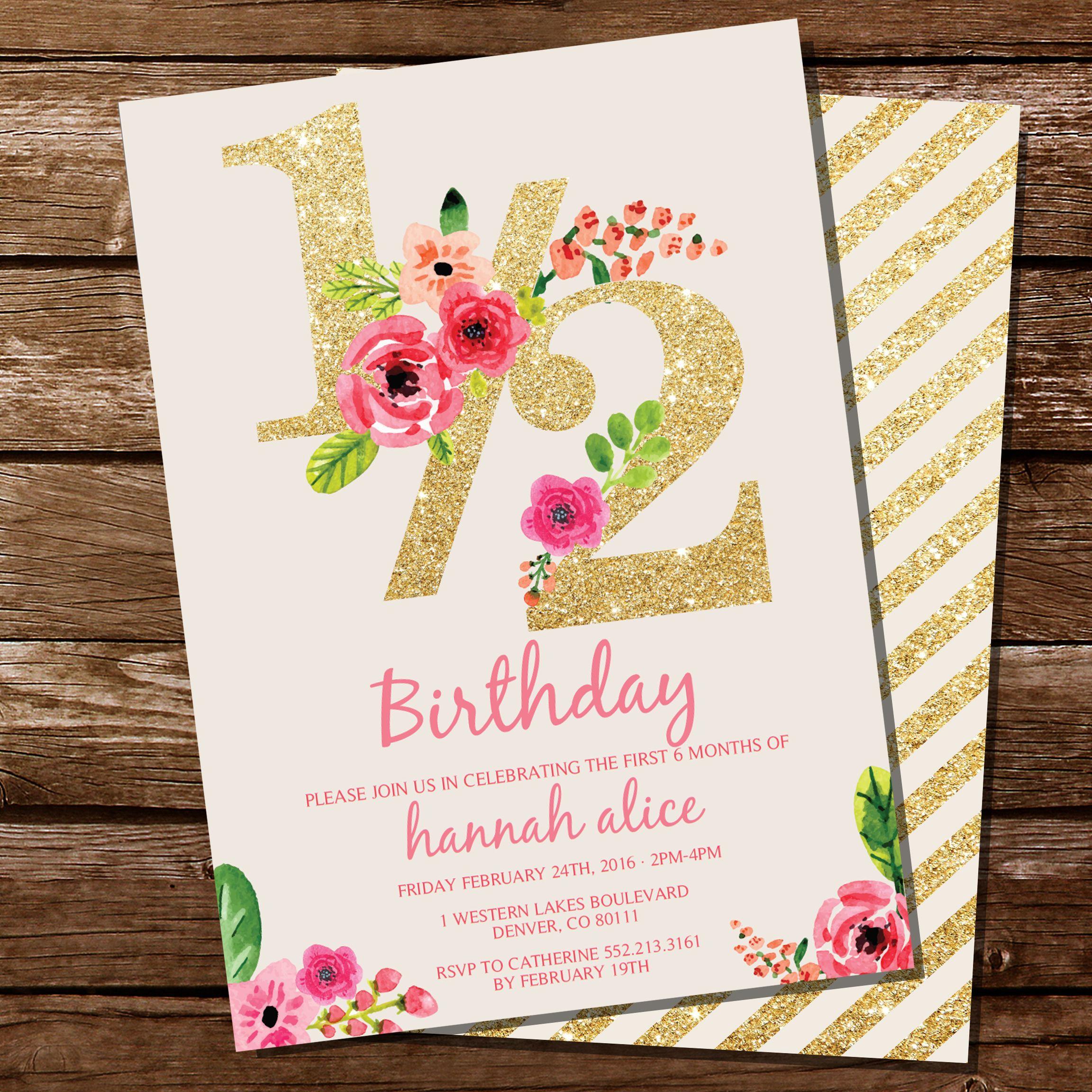 Half birthday invitation with gold glitter and pink florals half birthday invitation with gold glitter and pink florals halfbirthday pinkandgoldparty filmwisefo