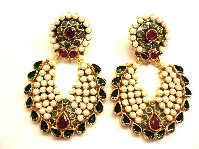 jkj-13571 pearls Earring   Kundan jewellery, Jewelry ...