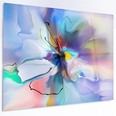 Designart Abstract Creative Blue Flower Graphic Art On Metal