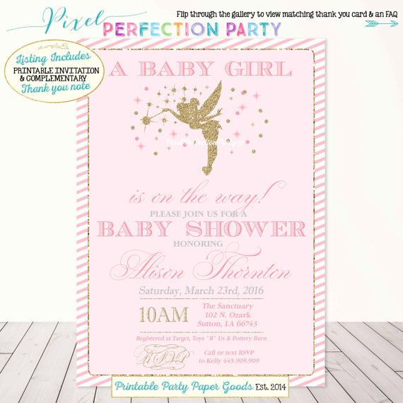 Fairy Baby Shower Invitation Pink And Gold By Pixelperfectionparty