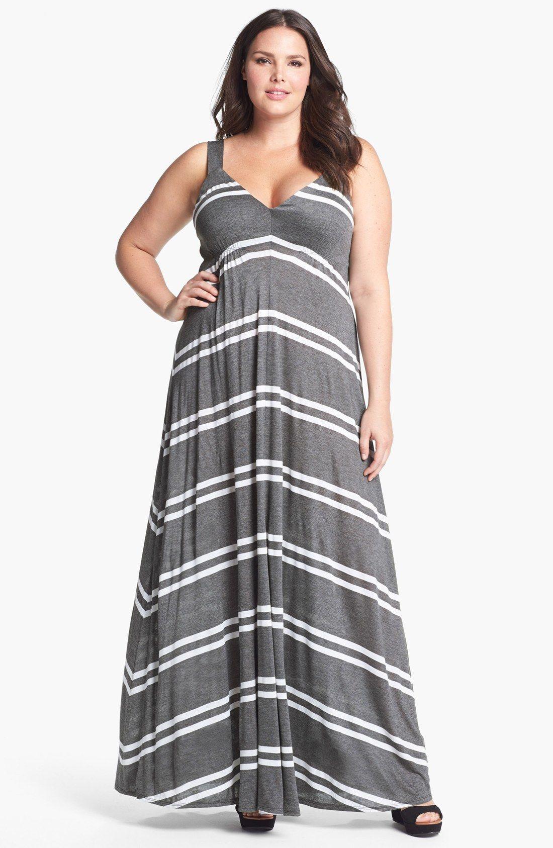 c56839a49fb44 Eight Sixty Stripe Jersey Maxi Dress (Plus Size)   Nordstrom ...