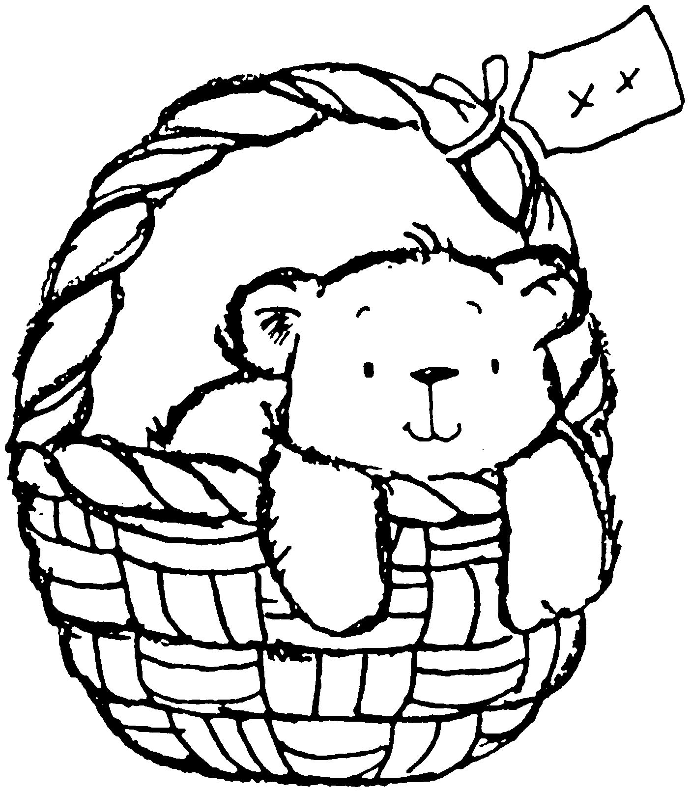 Teddy bear in a basket imagens) Desenhos para