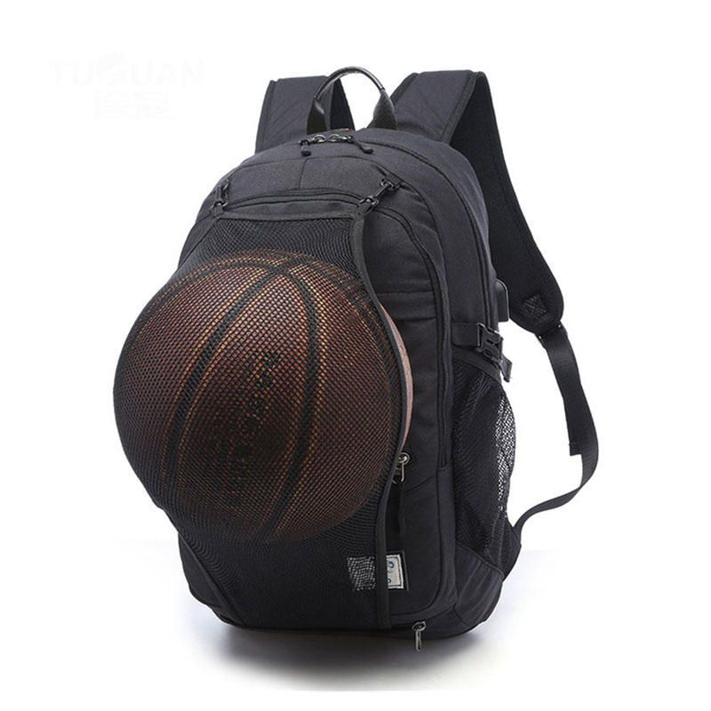 99802736bb5 Waterproof Canvas Laptop Backpack School Bag With USB Charging  Port Basketball Net
