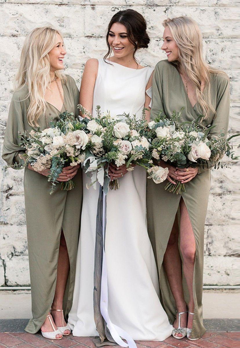 Sheath vneck split long chiffon green bridesmaid dress with long