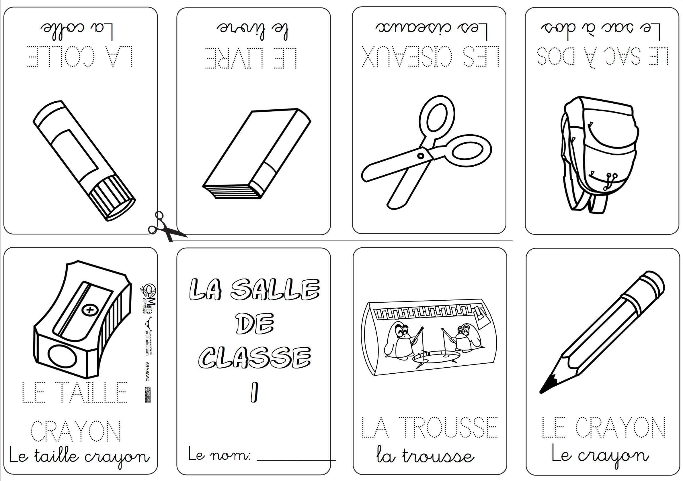 Mini libros y vocabulario en Francés Material escolar en
