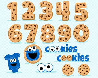 Cookies Numbers Monsters Digital Clipart Cookie Numbers