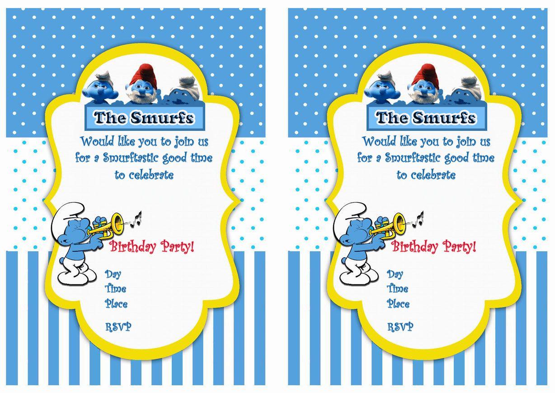 Smurfs birthday invitations birthday party invitations free smurfs birthday invitations filmwisefo