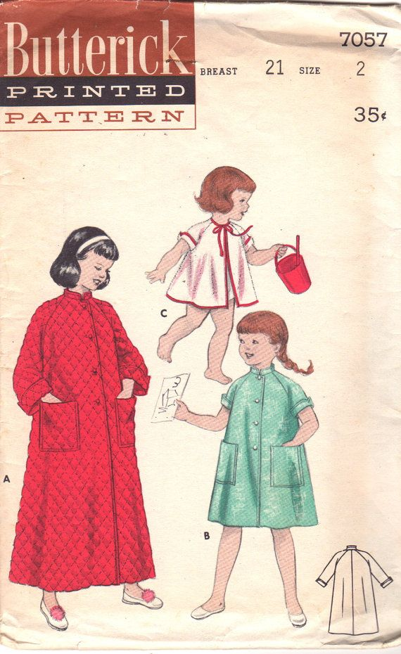 Butterick 7057 1950s Toddlers Beach Coat Robe Duster by mbchills
