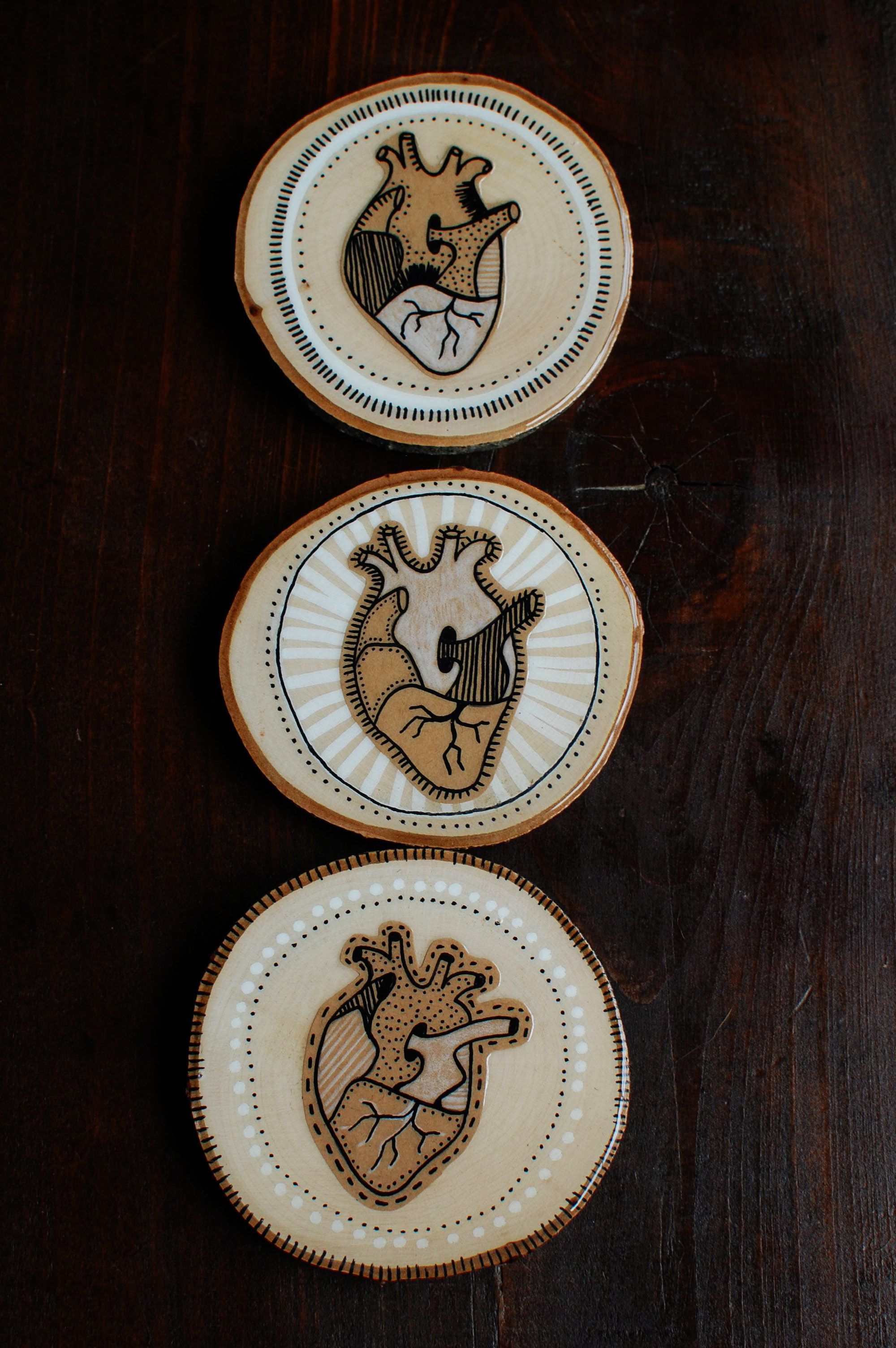 Anatomical heart wood slices wooden wall art wood art wall