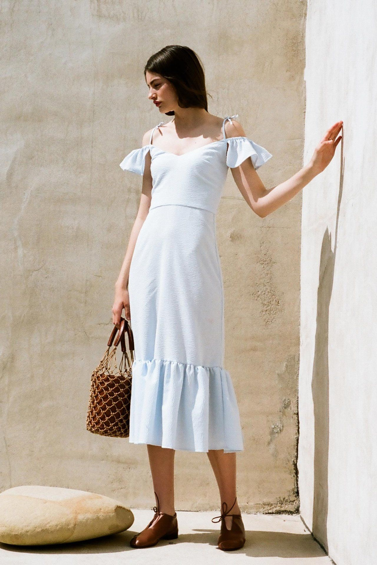 Staud spring bucket bags bag and seersucker dress