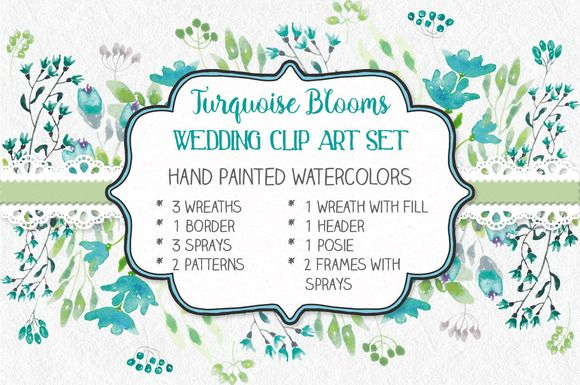 Wedding clip art set in turquoise  @creativework247