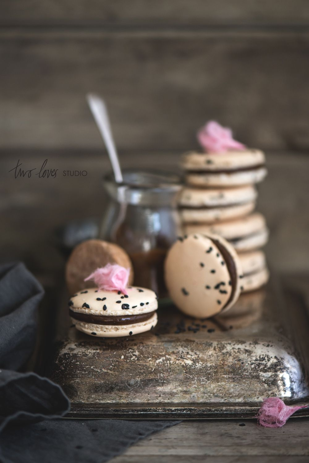 Liquorice Macaron with Persian Fairy Floss Roses © rachel jane | two loves studio