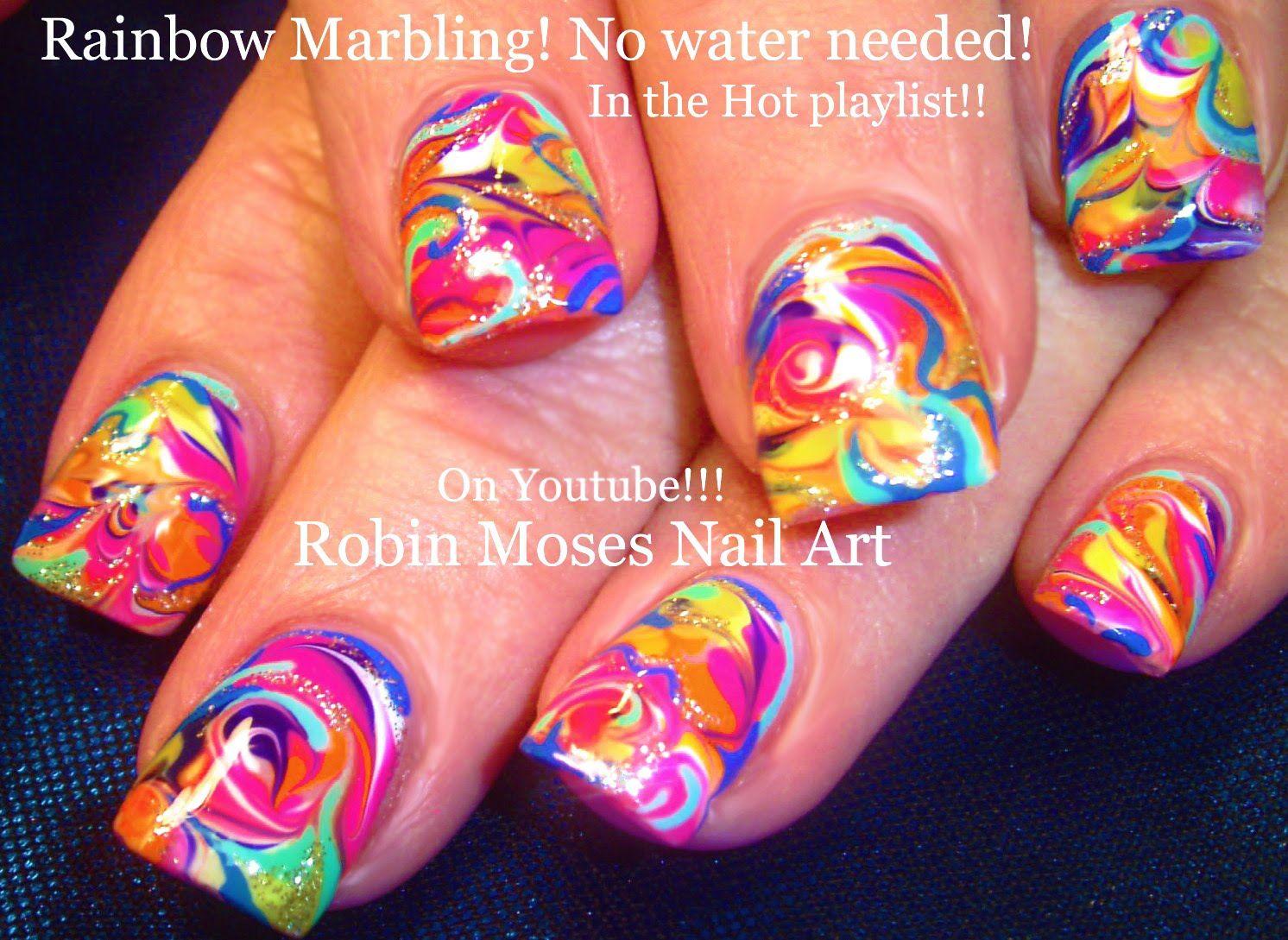 Nail Art! Rainbow Marble Nails - No water needed! Design Tutorial ...