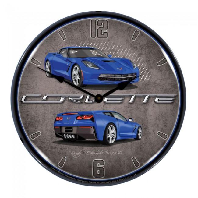 Corvette C7 Stingray 14 Led Backlit Clock 10 Color Options Blue Clocks Laguna Blue Clock