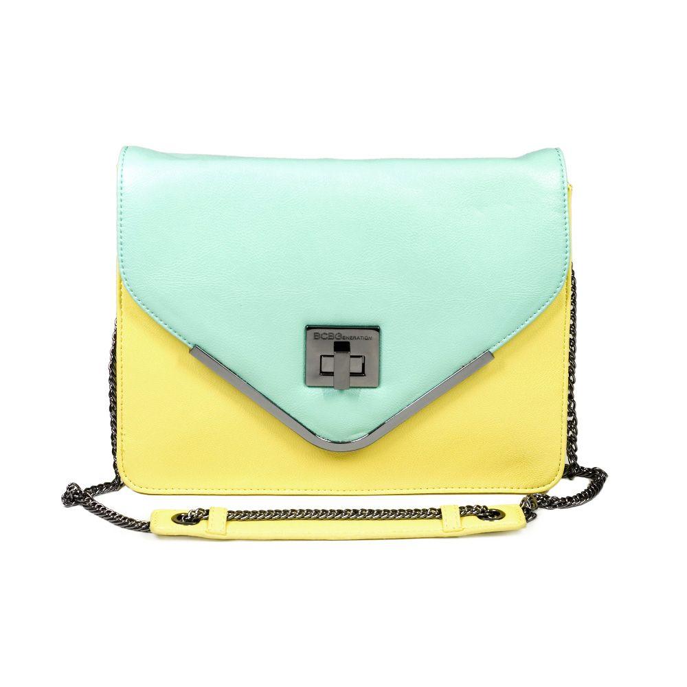 Mint / Yellow Color Block Shoulder Bag