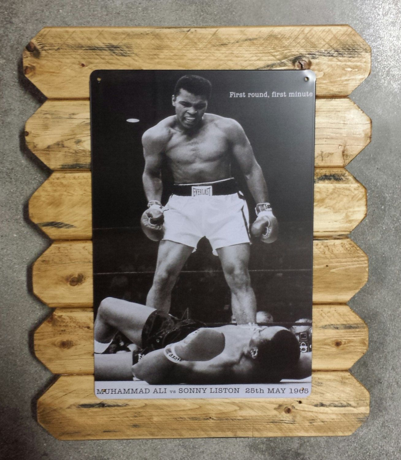 Mohamed Ali vs Sonny Liston Retro Metal Poster Framed in Distressed Pinewood by ArtMaxAntiques on Etsy