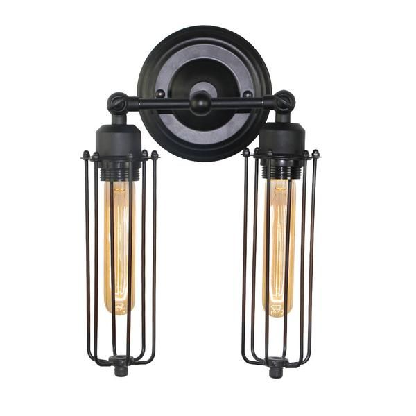 LNC Industrial Edison Vintage Style Black Metal Mini Wire Cage Wall Sconce Shade