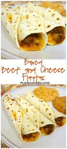 Baked Beef and Cheese Flautas - Plain Chicken