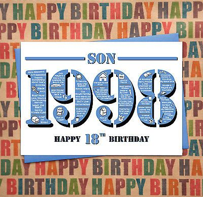 Happy 18th Birthday Son Greetings Card Born In 1998 Facts A5 Mens Male Blu View More O Happy 18th Birthday Son Happy 40th Birthday Happy 50th Birthday