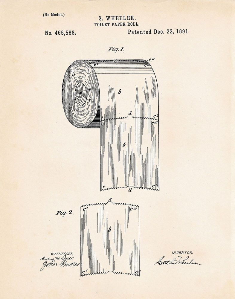 Toilet Paper Roll Bathroom Powder Room Decor Us Patent Art Print Wall Poster Vintage Toilet Patent Art Prints Chalkboard Art Print