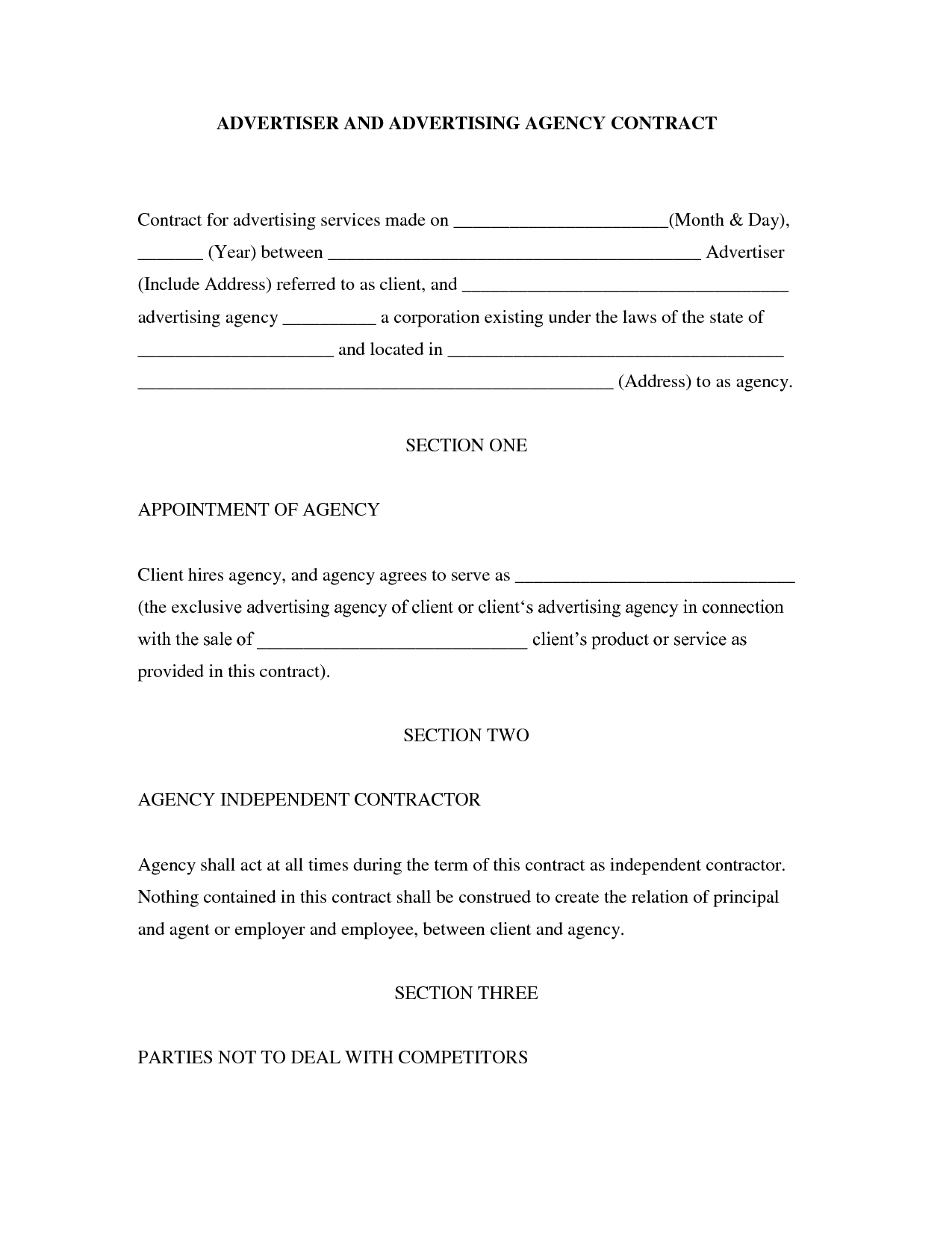 Doc460595 Sample Agency Agreement Sales Agency Agreement – Agency Contract Template
