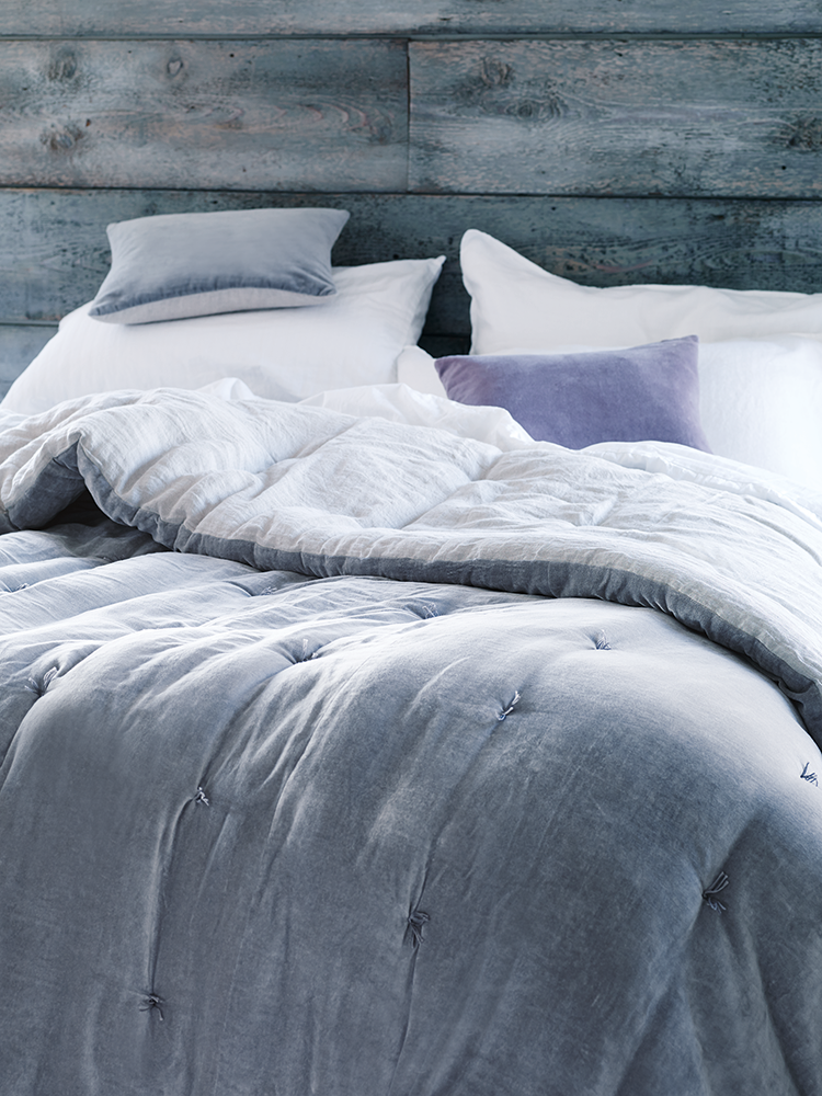 Gray Velvet Coverlet : Snuggle up under our supersoft padded cotton velvet