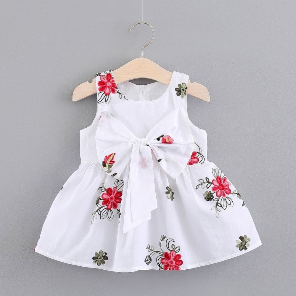 Kids Baby Girls Dress Clothes Ribbons Floral Print  Baby girl