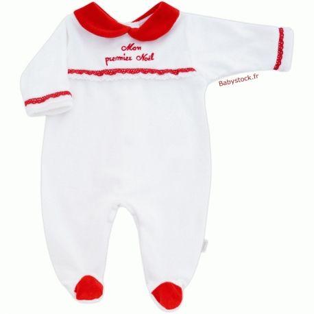 Pyjama bébé fille en velours blanc à col claudine rouge brodé Mon premier  Noël fabriqué au 256214394be