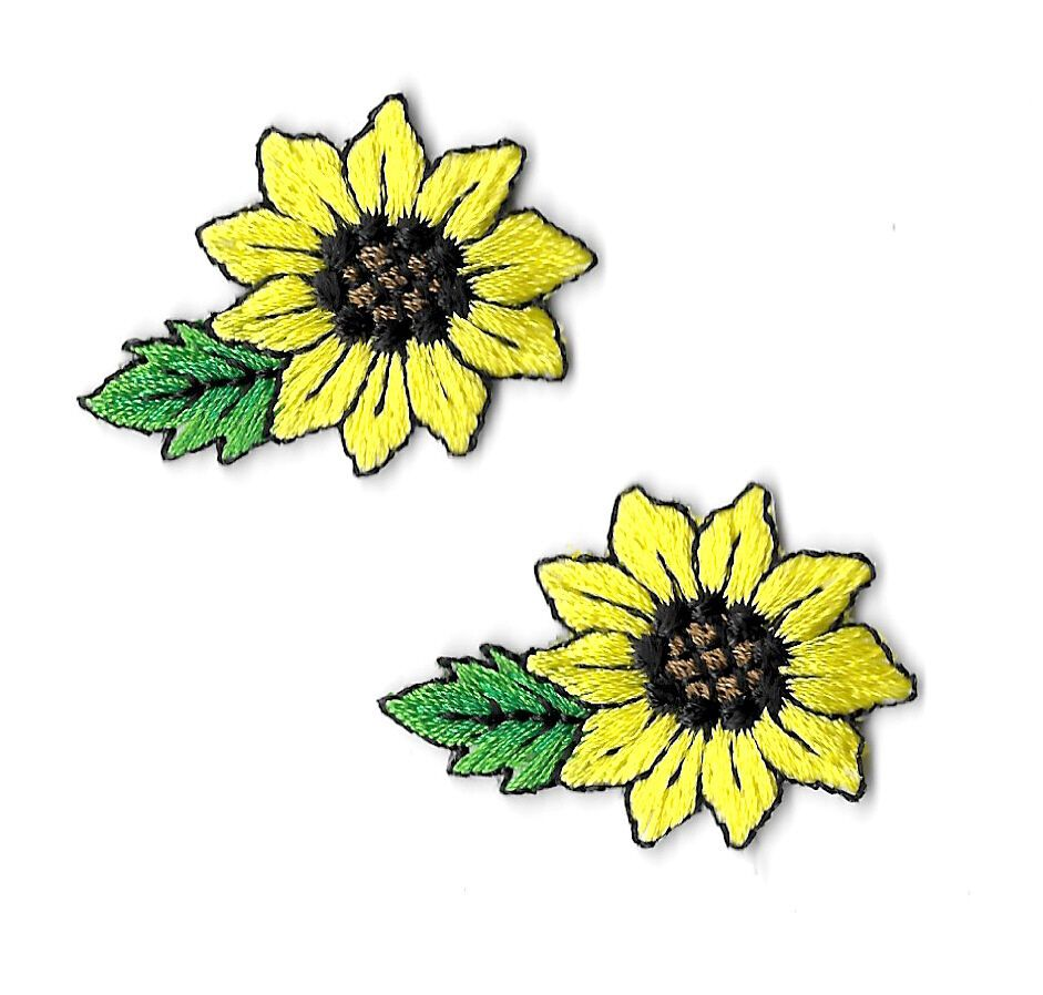 Garden Spring Shimmering Yellow Embroidered Iron On Applique Patch Rose