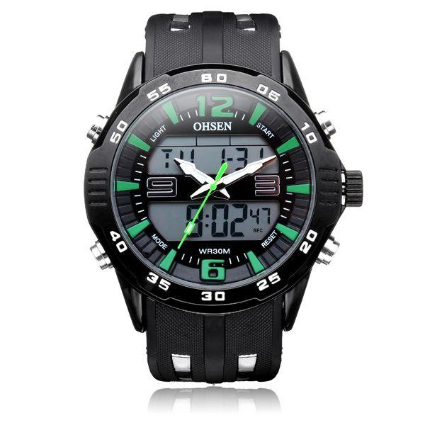 Sale 15% (17.99$) - OHSEN AD2813 Sport Big Dial Back Light Date Men Quartz Wrist Watch