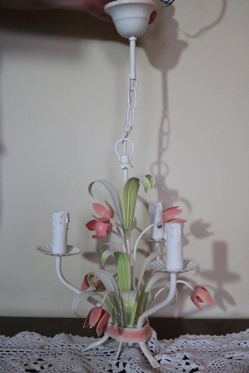 Beautiful french italian tole ware three arm chandelier