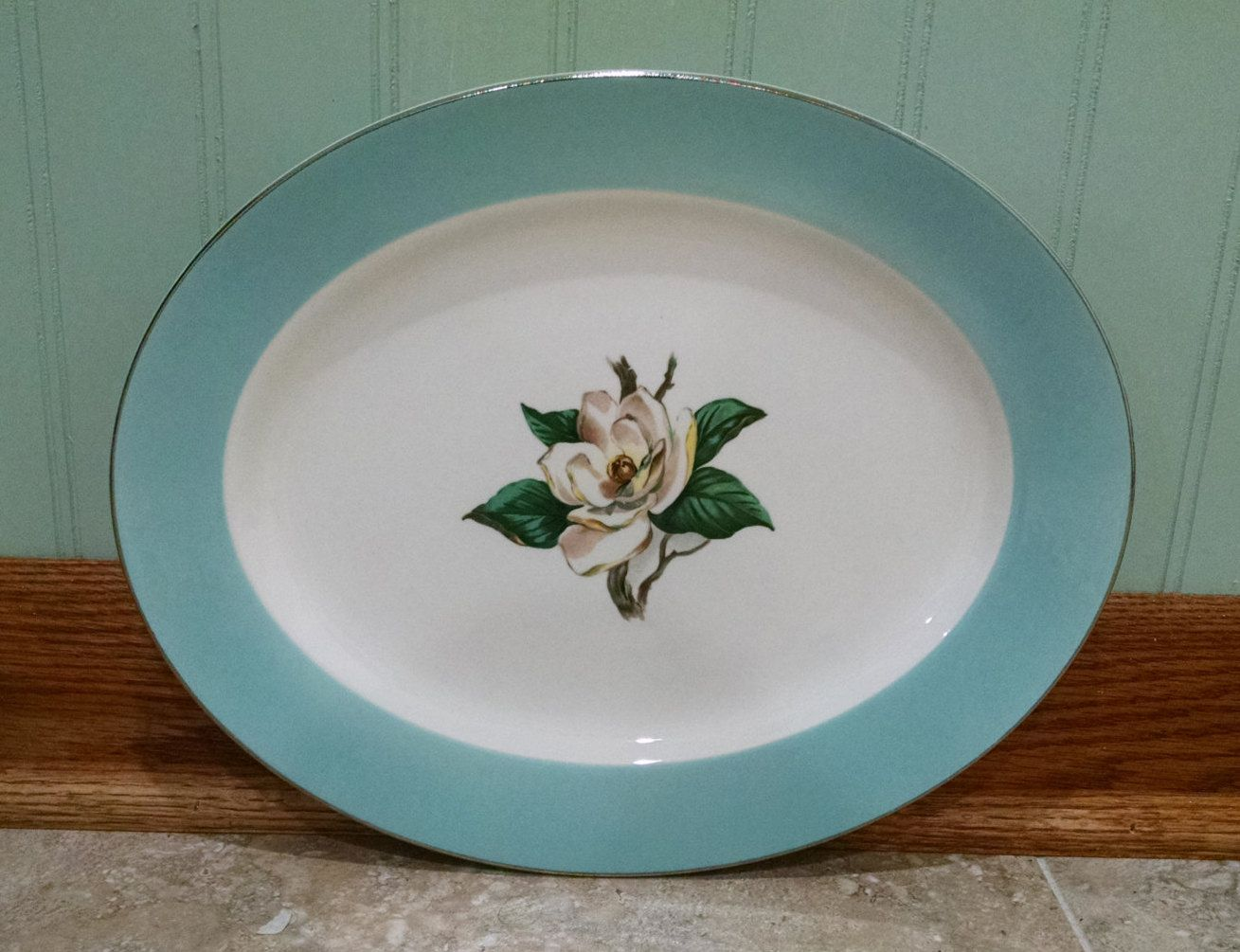 Lifetime China Turquoise Platter with Magnolia and Silver Edge - Homer Laughlin -Semi Vitreous Mid Century Dinnerware - Vintage by ClassyVintageGlass on ... & Lifetime China Turquoise Platter with Magnolia and Silver Edge ...