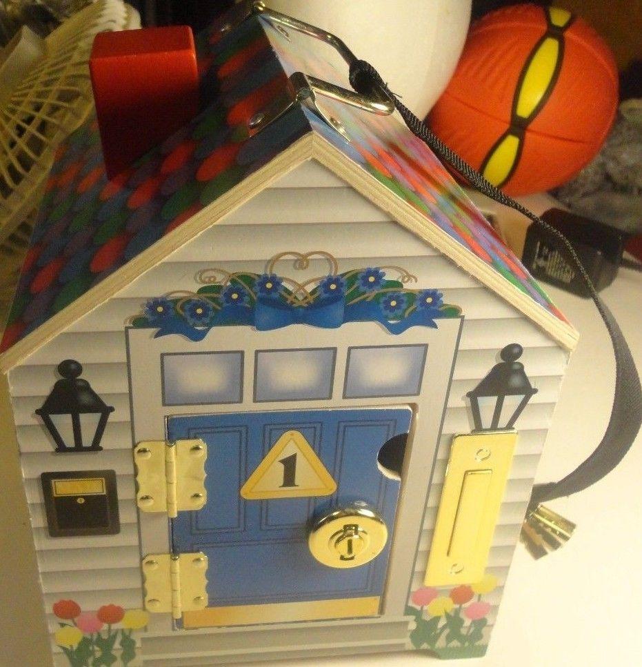 Melissa Doug Wooden Doorbell House W Keys Working Doorbells