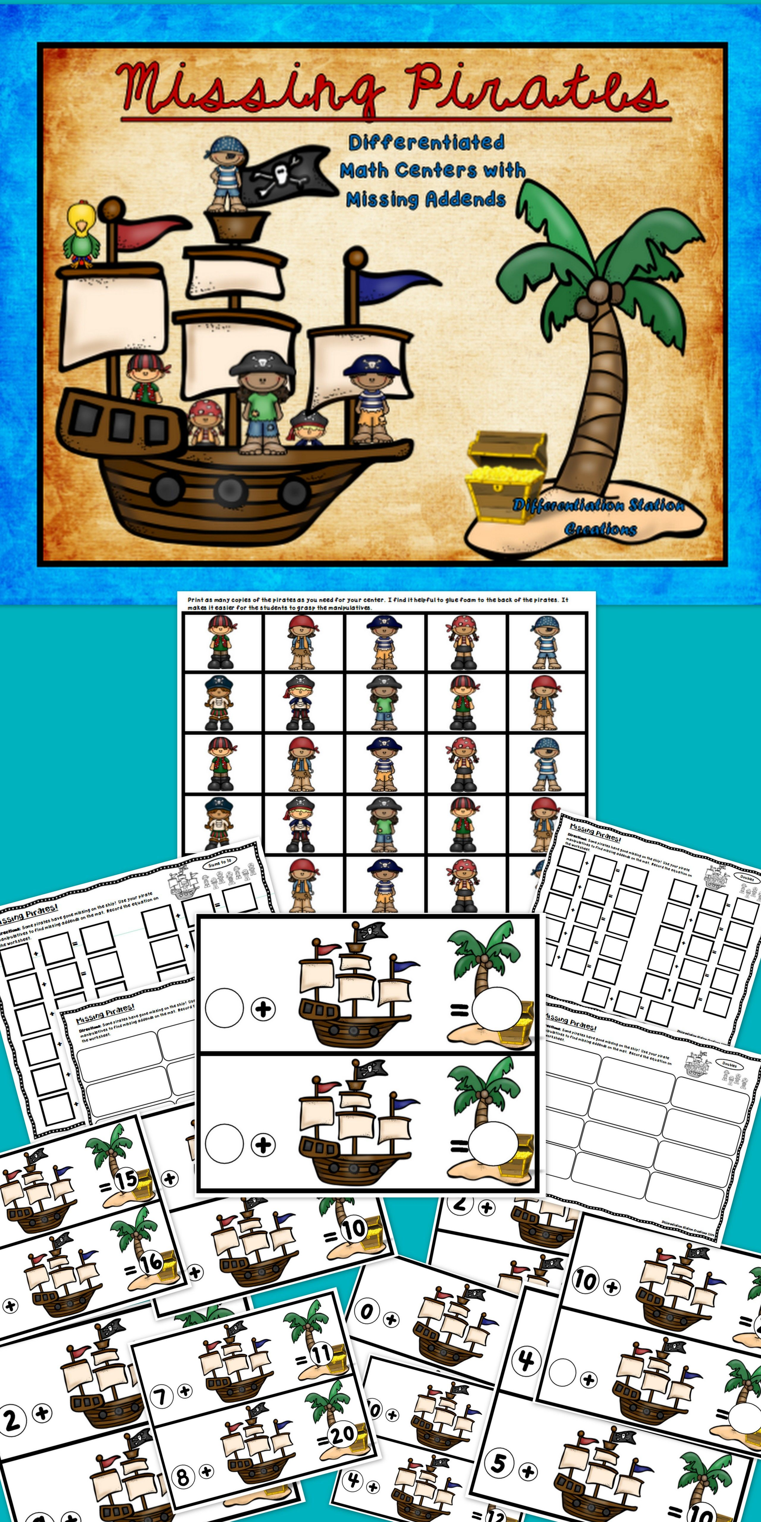 Missing Pirates Math Centers With Missing Addends