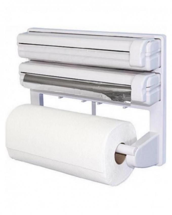 Preservative Film Holder Dispenser Under Cabinet Paper Roll Holder Rack White
