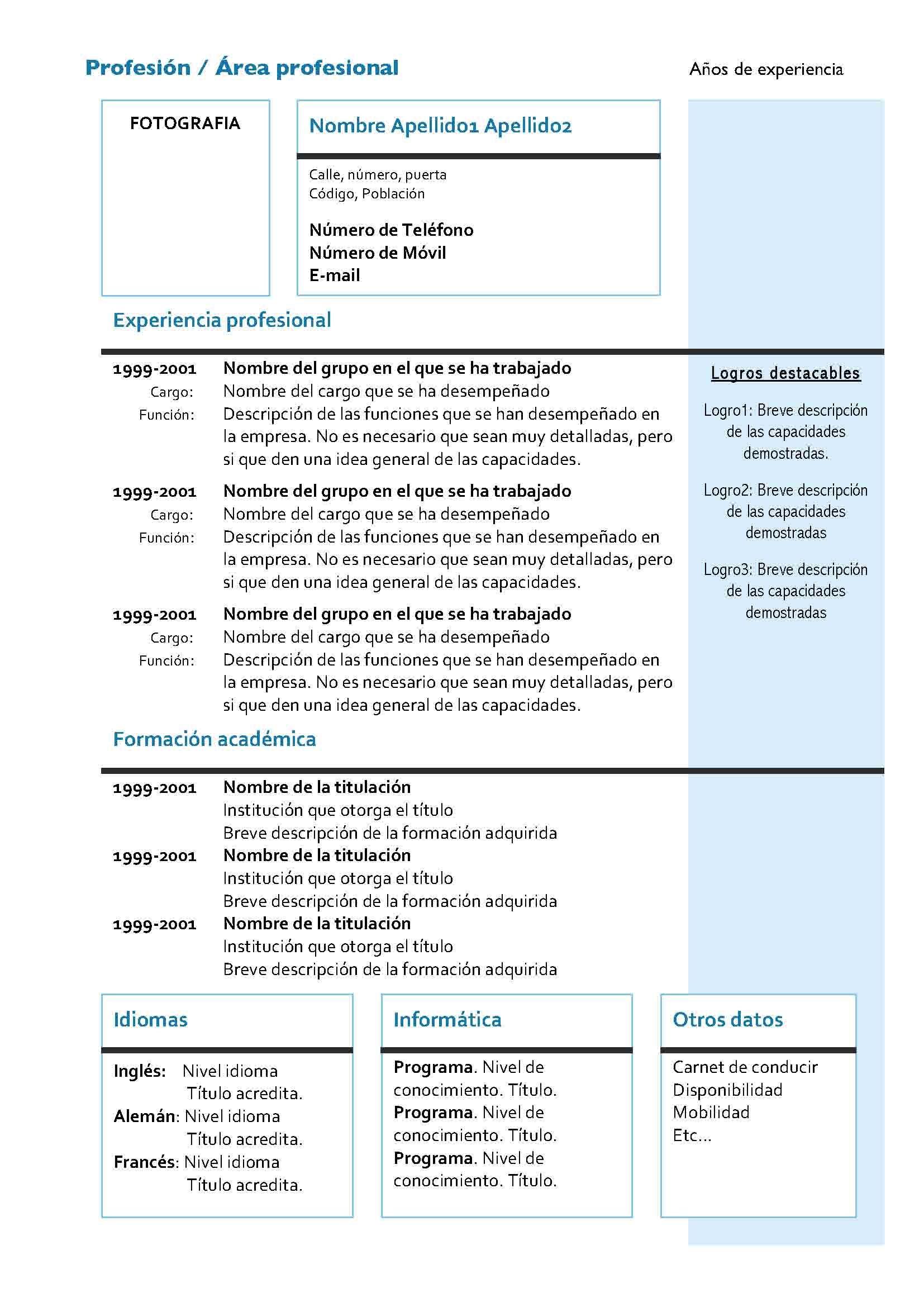 Currículum Vitae Cronológico: Modelo 4 | Proyectos que intentar ...