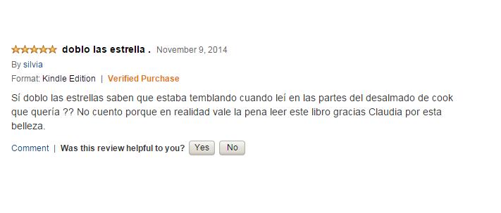 Comentario muy entusiasta en Amazon.com para Enlazando el destino.